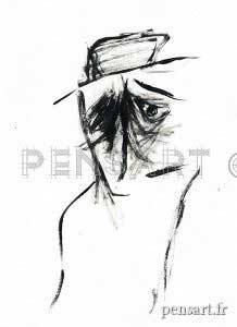 Peinture acrylique- l'homme au chapeau