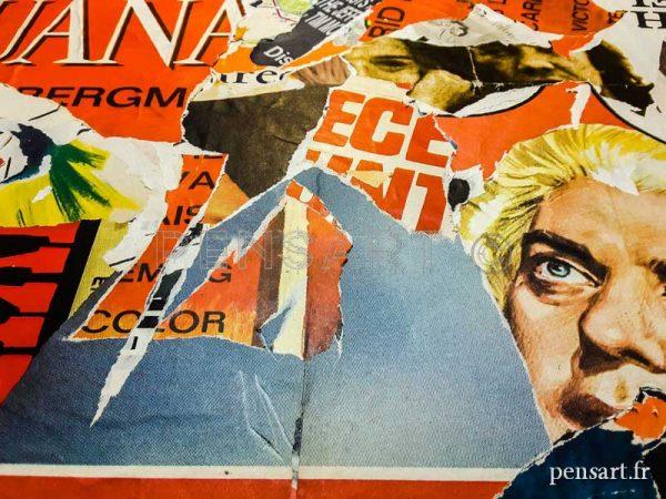 Collage d'anciennes affiches de cinéma sur châssis