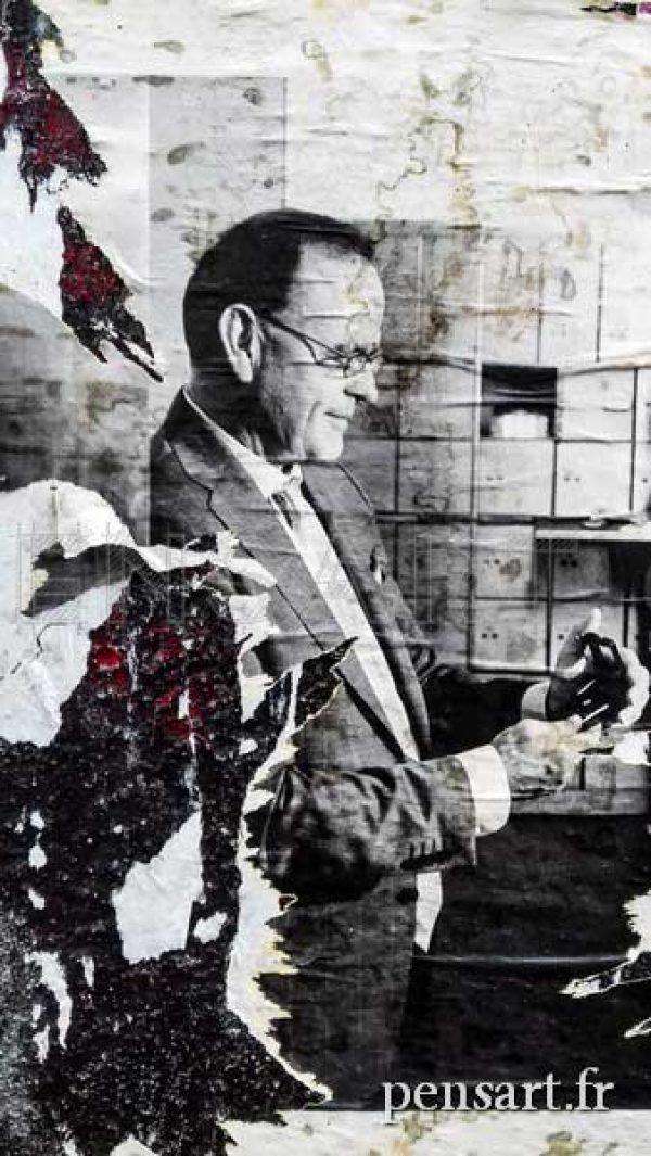 Homme à lunette- Photo d'affiche déchirée