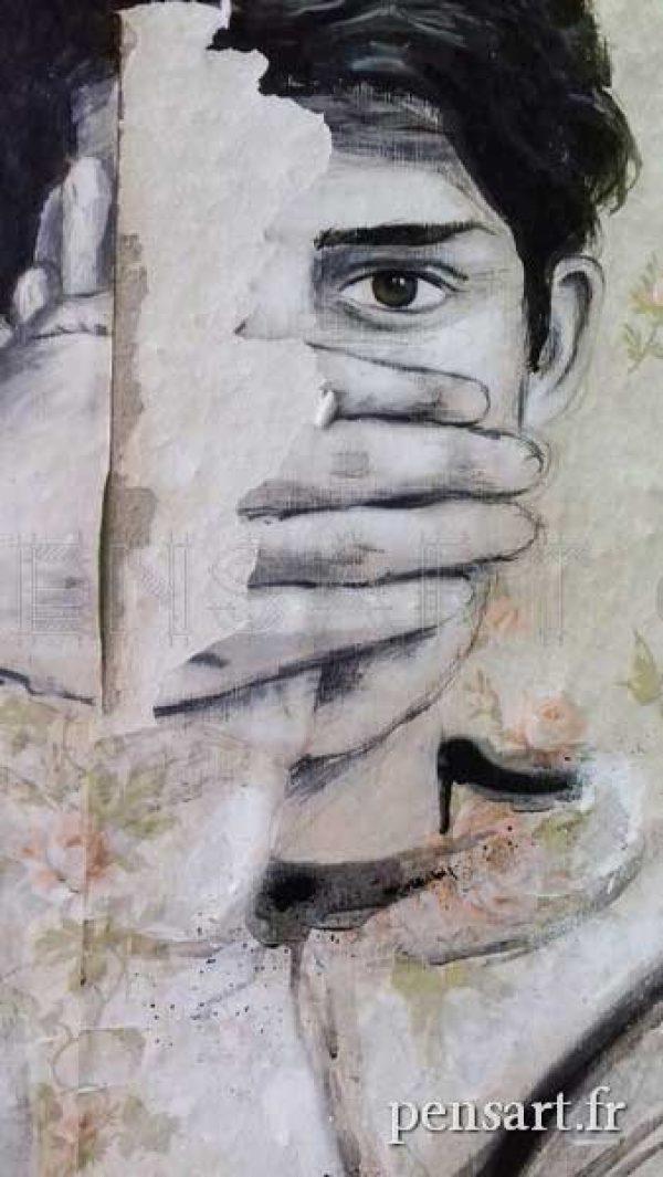 Photo d'affiche déchirée- Main sur la bouche