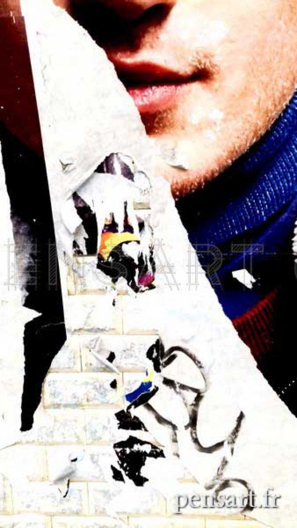 paris-metro-visage-affiche-dechiree