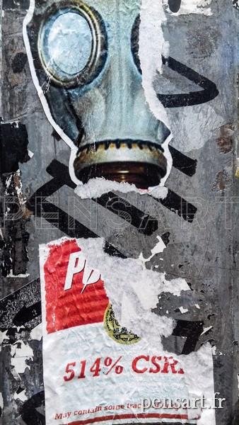 Photo affiche déchirée- Warhol vs masque à gaz