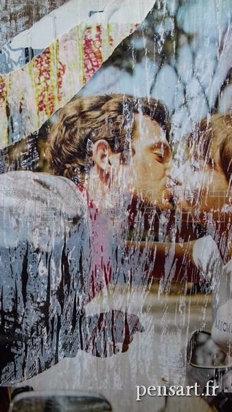 Affiche déchirée- Le baiser- Pierrot le fou