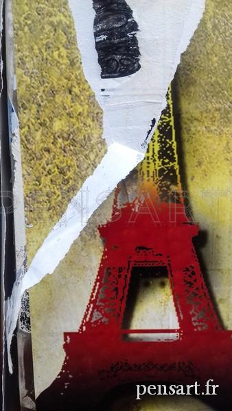 Affiche déchirée Tour Eiffel