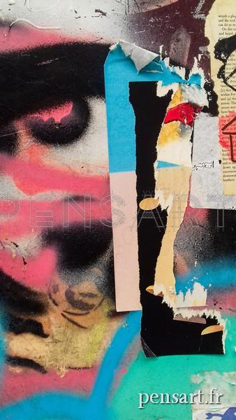 Street art- Affiche déchirée colorée